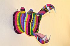 African Beaded Wire Animal Sculpture - HIPPO HEAD - Rainbow by Hadeda on Etsy