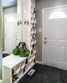 Click Pic for 14 DIY Shoe Organizer Ideas | Floor to Ceiling PVC Pipe Organizer | DIY Shoe Storage Ideas