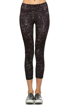 12 Ami Solid Marble Stretch Capri Leggings Black M * Click on the image for additional details.