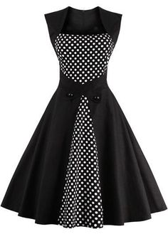Vintage 50s Style Black Polka Dot Print Sleeveless Swing Dress