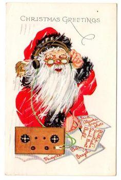Vintage Postcard Embossed 1930s Christmas Greeting Santa Claus Making List