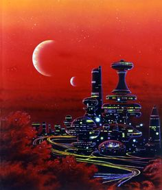 A good idea for what our protagonist might see when visiting a more advance alien planet. Art And Illustration, Steampunk, Egypt Civilization, Ancient Civilizations, Arte Sci Fi, 70s Sci Fi Art, 80s Sci Fi, New Retro Wave, Arte Tribal