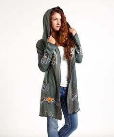 Look at this PAPARAZZI Gray Embroidered Hoodie - Women on #zulily today!