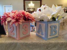 ABC Baby Block Centerpiece Block, Baby Boy Centerpieces, Baby Shower  Centerpiece,Table Centerpieces