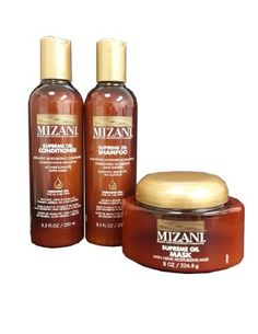 Mizani Moisturizing Shampoo, Conditioner, Mask 8.5oz SET by MIZANI. $33.75. Mizani Supreme Oil Sulfate Free Moisturizing Shampoo 8.5oz. Mizani Supreme Oil Satin Crème Moisturizing Mask 8oz. Mizani Supreme Ultra-Light Moisturizing Conditioner 8.5oz. Mizani Supreme Oil Sulfate Free Moisturizing Shampoo 8.5oz - Fast-rinsing, high foam and sulfate-free shampoo offers deep but gentle cleansing with penetrating Argan and surface-coating Sesame Oils Also paraben and silicone free, it...