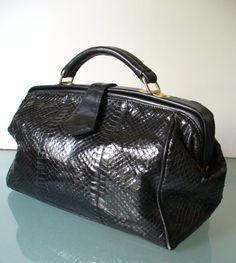 Vintage Black Snakeskin Doctors Bag by TheOldBagOnline on Etsy
