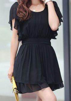 Black Ruffle Short Sleeve Elastic Waist Pleated Chiffon Dress