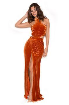 64899062b970f Perlita Burnt Orange Velvet Maxi Dress Orange Long Dresses, Burnt Orange  Dress, Max Dresses