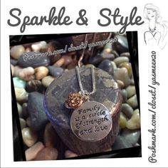 "GREAT GIFT FOR ANY FAMILY MEMBER Make someone feel special with this silver tone  necklace accented with a rose gold tone tree. ""Family is a circle of strength and love "" necklace. Very nice quality.12 available Jewelry Necklaces"