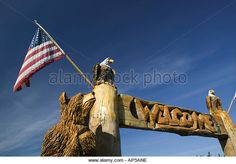 USA, ALASKA, KENAI PENINSULA, SOLDOTNA: Alaskan Chainsaw Woodcarving Critter, (Local Craft); - Stock Image