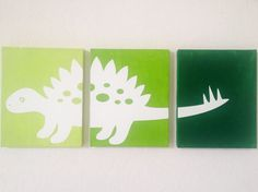 Dinosaur Ombre Canvas Art by adapperduck on Etsy