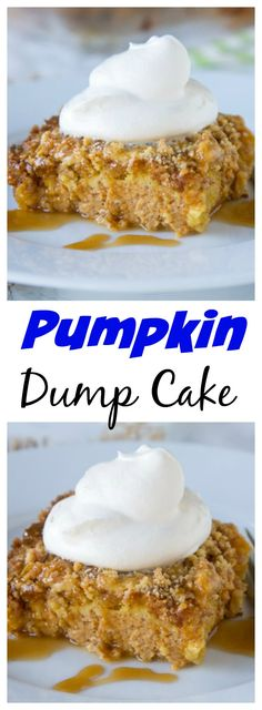 Pumpkin Dump Cake – a super easy, 6 ingredient cake that you can put together in minutes. Top with whipped cream and caramel for an amazing fall treat!