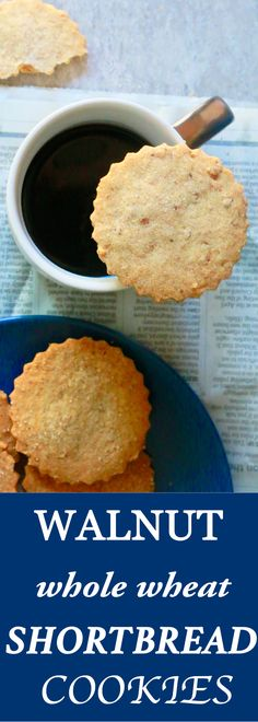 Whole-Wheat Walnut Shortbread Cookies - Kitchen @ Hoskins Baking Recipes, Cookie Recipes, Dessert Recipes, Bar Recipes, Gourmet Recipes, Shortbread Cookies, Cookies Et Biscuits, Whole Wheat Cookies, Walnut Cookies
