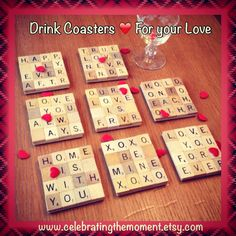 Items similar to Drink Coasters for Couples, Wedding Drink Coasters, Girlfriend Gift, Anniversary Gift, W Scrabble Letter Crafts, Scrabble Coasters, Scrabble Art, Scrabble Tiles, Scrabble Ornaments, Wooden Coasters, Valentine Day Gifts, Valentines, Valentine's Day