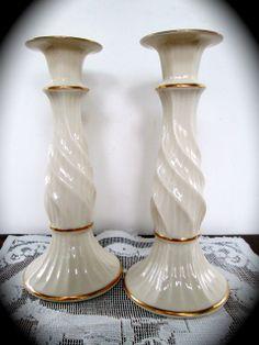 White Porcelain Lenox Vase Leaf Pattern Lenox Collection