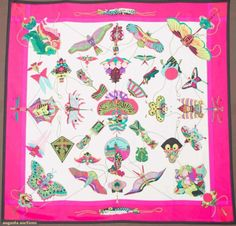 Hermes Silk Scarf, Loic Dubigeon, 20th C, for upcoming auction. #textiles