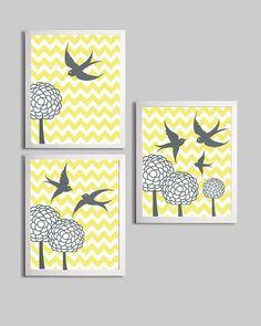 Chevron Yellow Gray Nursery Art Bird Family Flowers by ZeppiPrints #carouseldesigns #pinparty