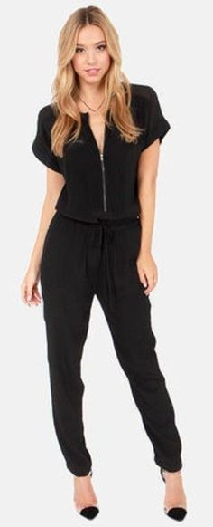 black, zip, front, jumpsuit, outfitshunter, pinned
