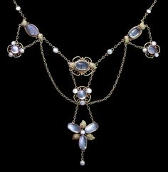 Arts and Crafts Necklace, Gilded silver, Moonstone, & Pearl; British, c.1900