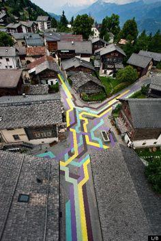Old Village Gets New Look With Lang/Baumann Geometric Street Art  (Vercorin, Switzerland)
