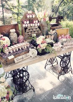 Crystal and Crates Vintage Rentals has two sewing machine bases to make this… Candy Table, Candy Buffet, Vintage Candy Bars, Rustic Wedding, Our Wedding, Bar A Bonbon, Desert Table, Wedding Decorations, Table Decorations