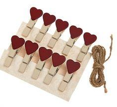 Heart Wooden Pegs