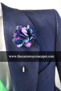 purple plaid lapel flower