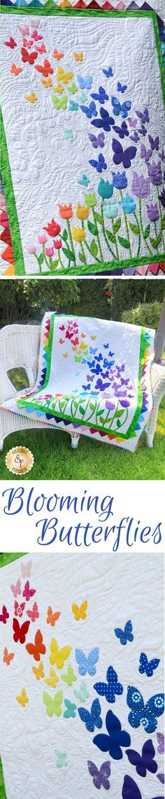 """Brighten your little girls room with this darling Blooming Butterflies Quilt! This 40½"""" x 51½"""" quilt features a beautiful array of butterflies floating on a gentle breeze over a bed of blooming tulips."""