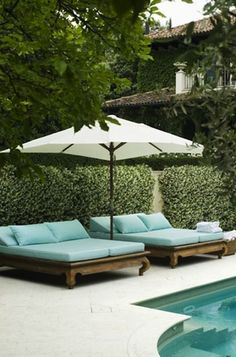 Turquoise double chaise lounges