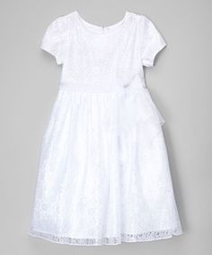 White Floral Lace Overlay Dress - Girls