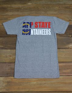 Represent your school and state in this awesome new Appalachian State t-shirt with the North Carolina flag print! This is perfect for every App State fan and student! Go Mountaineers!