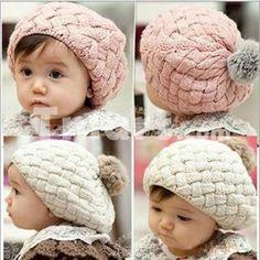 Cute Baby Child Twisted boina tejida sombrero rosado y gris claro,$5.10