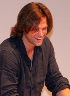 "I so love to see him laugh.  This great pic is from the Facebook page of Every Bone In My Body Says I Love Jared Padalecki ""jjc""."