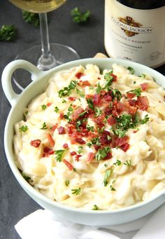 This Three Cheese Bacon Mac & Cheese is the only pot of gold you need for your St. Patrick's Day dinner.