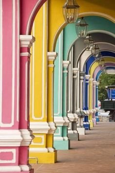 Photographic Print: Painted Arches George Town, Penang, Malaysia by Mark Hall : Desktop Background Pictures, Photo Background Images, Photo Backgrounds, George Town Penang, Mark Hall, Picsart Background, Beach Landscape, Scenery, Exterior