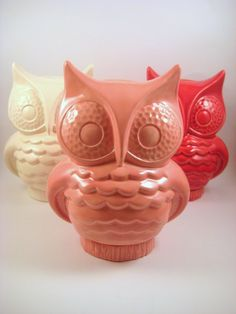 Valentine's Vintage Ceramic Owl Coin Bank - Pink, Red, and White