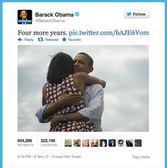 Barack Obama sends the most popular tweet of all-time.