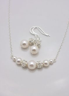Pearl Bridal Set Pearl Necklace and Earrings by AnaInspirations