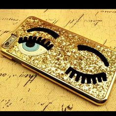 Glittery gold Winking Case For iPhone 6sPLUS , 6plus, 6 and 6s ONLY. Please comment on which size your phone is Accessories Phone Cases