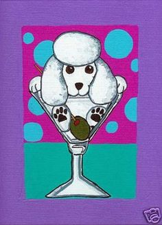 WHITE POODLE MARTINI by VERN