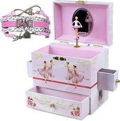 Amazon.com: ShameOnJane Ballerina Jewelry Box and Girls Jewelry Box - Music Box - Swan Lake, a Great Gift for Girls or Jewelry Box for Little Girls - Bonus Dance Bracelet- Dance Recital Gift!: Home & Kitchen Kids Jewelry Box, Little Girl Jewelry, Musical Jewelry Box, Little Girl Gifts, Girls Jewelry, Gifts For Girls, Music Jewelry, Diy Jewelry, Summer Crafts For Kids