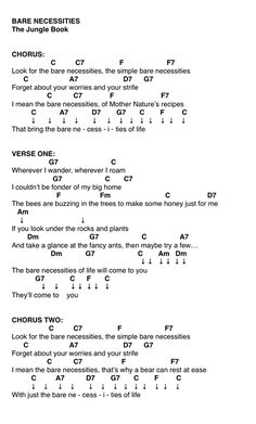 Bare Necessities- Jungle Book Chords