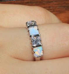 fire opal topaz ring gems silver jewelry Sz 5.5 6 6.5 7.5 modern wedding band B3 #Band