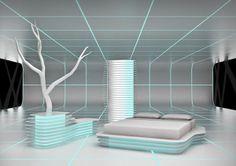 white futuristic bedroom