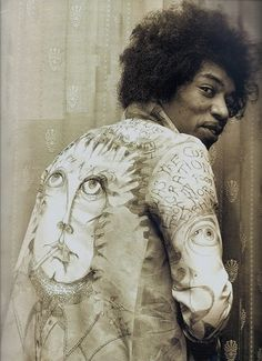 Jimi hendrix in Jacket hand painted by Chris Jagger(Mick's brother)