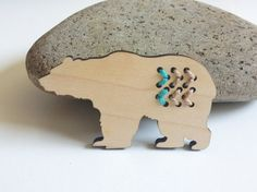 Chevron Tribal Bear wood Brooch stitched with by corejewellery, $24.00