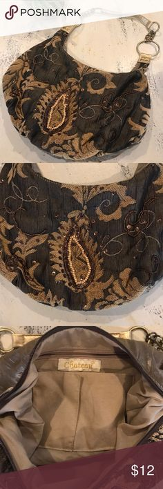 Chateau Beaded Boho Purse ✌🏼 Pretty little fabric bag. In great condition. Great for everyday use with a bohemian flair. I love the gold handle and how the back of the bag is shimmery. Anything that shimmers and shines and sparkles is👌🏼 Feel free to make an offer or bundle and save 💵 Chateau Bags