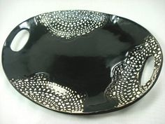 Black and White Lace Ceramic Oval Platter by MagicMoonPottery, $65.00