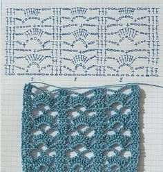 sample points and crochet edges page is in spanish you will need to translate nice tutorial nice stitch love it - PIPicStatsCrochet stitch by Anabelia - in Spanish and has a symbol chartCrochet stitch beautiful for scarfEasy stitch - reminds me of a Crochet Stitches Chart, Crochet Diagram, Filet Crochet, Crochet Motif, Crochet Designs, Knit Crochet, Crochet Patterns, Patron Crochet, Crochet Ideas