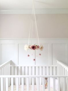 Mauve & blush nursery flower mobile, crib mobile, baby girl mobile, pink baby…